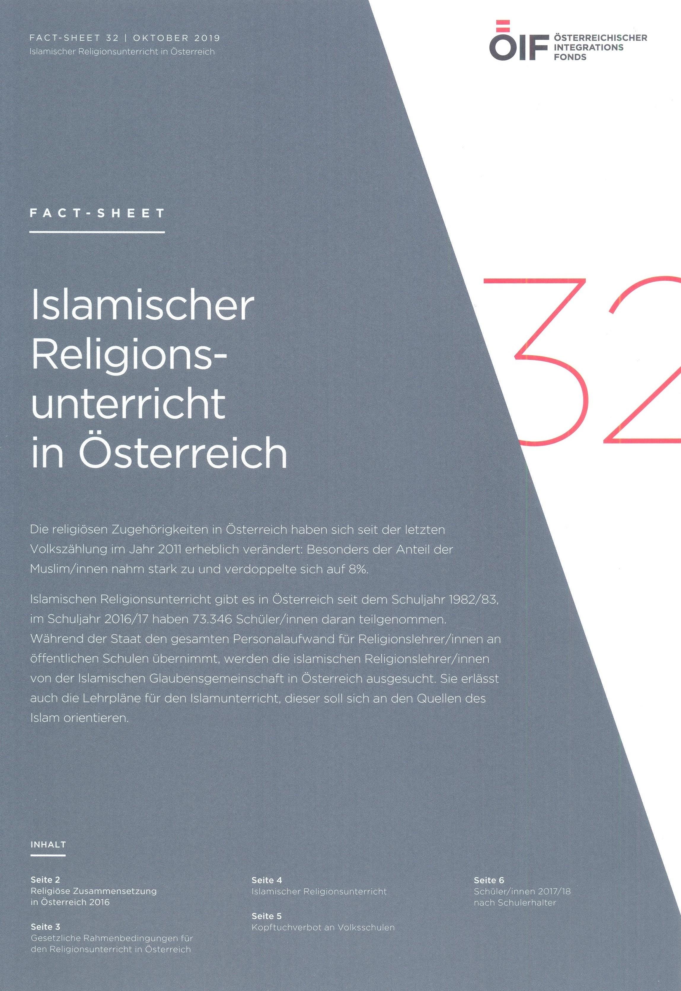 Islamischer Religionsunterricht in Österreich Fact-Sheet 32